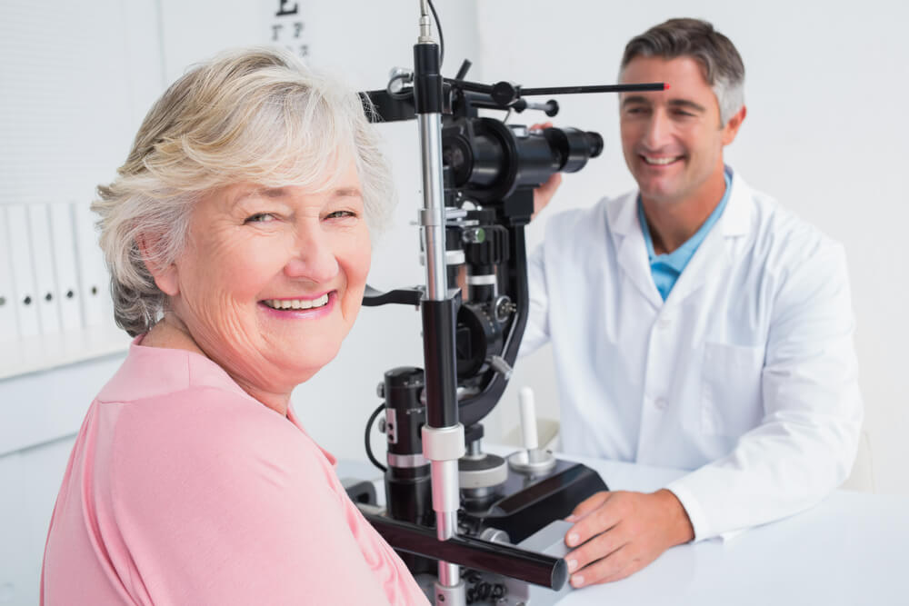 Patient and doctor in eye exam room