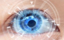 Closeup of eye with futuristic digital design around the eye