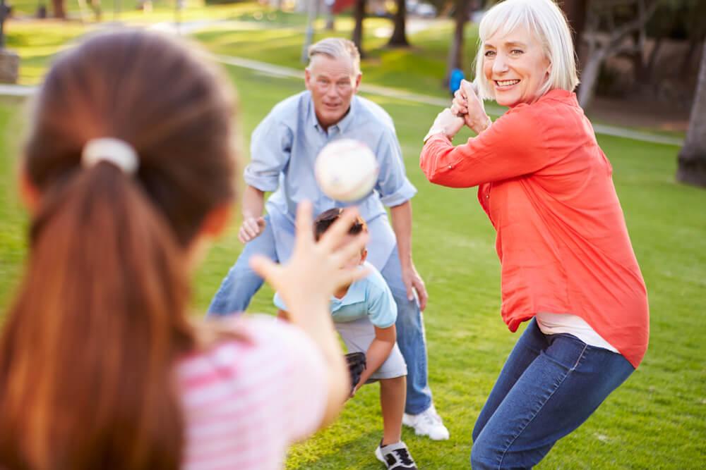 Mature woman playing softball